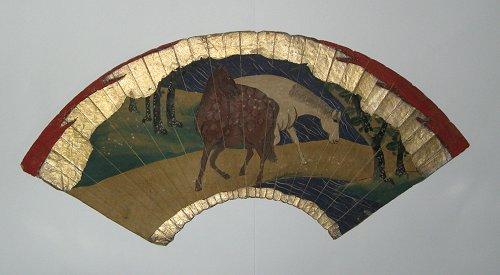 画像1: 肉筆扇面画・馬の図 (1)