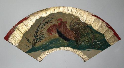 画像1: 肉筆扇面画・鶏 (1)